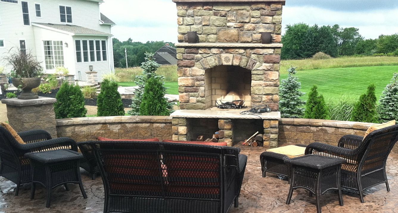 stamped concrete patio with fireplace. Fireplaces Rochester NY Stamped Concrete Patio With Fireplace