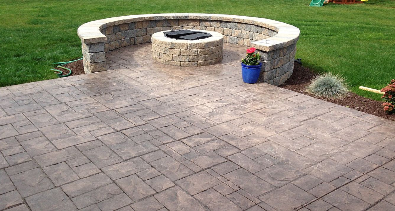 Beau Fireplaces Rochester NY Outdoor Living Space Stamped Concrete Patio